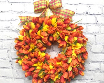 Yellow and Orange Mini Tulip Wreath, Mothers Day Gift, Easter and Spring Décor, Everyday Door Hanger, Wedding Wreath, Summer Door Wreath