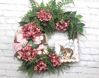 Happy Easter Door Hanger, Happy Easter Wreath, Spring Easter Wreath, Wreath for Front Door, Hydrangea Easter Wreath, Rustic Easter Wreath