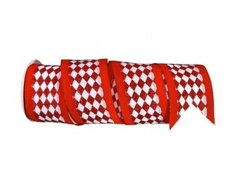 """Red and White Diamond Check Velvet 4"""" Wired Ribbon, Harlequin Check 10 Yds or 5 Yds Premium Ribbon for Wreaths, Crafts or Floral Designs"""