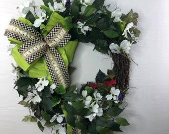 Virginia State Flower and Bird Front Door Wreath, Spring/Summer Dogwood Blossoms Door Hanger, Mothers Day or Housewarming Gift