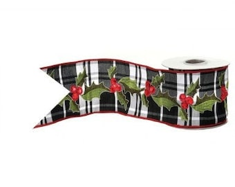 """Jewel Holly Plaid Ribbon 4"""" x 5 Yards, Black and White Plaid with Red Jeweled Holly Berries and Green Embroidered Leaves, Christmas Ribbon"""