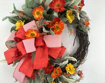 Spring and Summer Poppy Front Door Wreath, Yellow, Orange and Coral Front Porch Mothers Day Gift, Back Porch or Kitchen Farmhouse Wreath