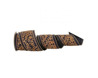"""Navy Blue and Gold Embroidered Jewel Leaf Dupion Ribbon, 4"""" X 5 Yards Premium Ribbon, Floral and Wreath Supplies"""