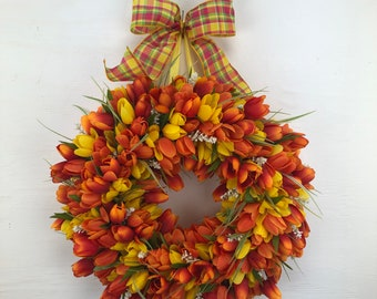 Yellow/Orange Mini Tulip Wreath, Mothers Day Gift, Spring and Summer Décor, Everyday Door Hanger, Wedding Wreath, Front or Back Porch Decor