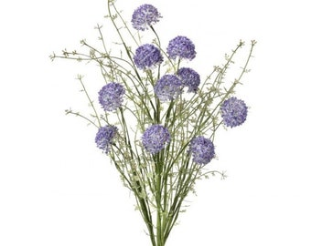 Wild Allium Artificial Mixed Greenery with Flowers Lavender Pink Coral or Green Cream, Fillers for Wreaths, Crafts or Floral Arrangements