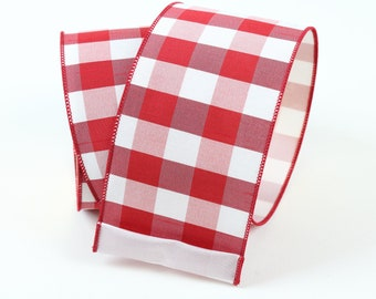 """Country Red and White Check, 2.5"""" Wired Ribbon For Wreaths or Crafts, 2.5"""" X 10 Yards or 5 Yards Farrisilk Ribbon, Floral or Wreath Supplies"""