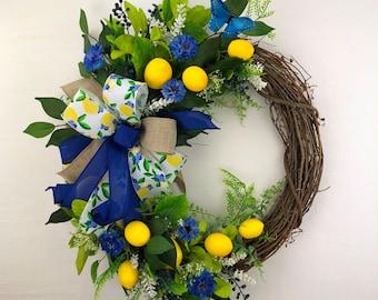 Spring/Summer Lemon Front Door Wreath, Kitchen Lemon Décor, Farmhouse Yellow White Blue Back Porch Décor, Entryway Decor, Mother's Day Gift