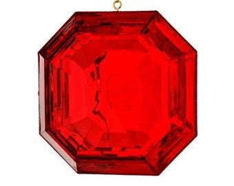 "6""  Square Acrylic Emerald Cut Precious Gem Ornament, Red Ornament, Shatterproof Christmas Ornament, Wreath Attachment or Supplies"