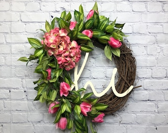 Pink Tulip Hydrangea Summer Wreath, Welcome Wreath for Baby and Wedding Shower, Farmhouse Pink Flower Front Door Décor, Mother's Day Gift