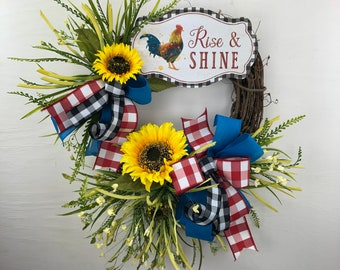 Farmhouse Rooster Wreath, Country Kitchen Decor, Rise and Shine Front Porch Décor, Rustic Chicken Décor for Back Porch, Sunflower Wreath