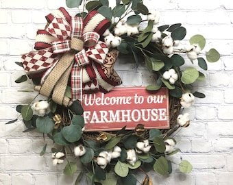 Farmhouse Décor with Cotton, Welcome To Our Farmhouse Wreath, Country  Mothers Day Gift, Farmhouse Style Décor, Rustic Door Hanger