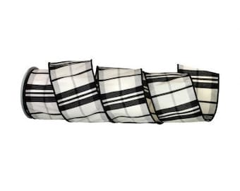 """Black and White Plaid 4"""" Wired Ribbon in 10 Yards or 5 Yards Premium Ribbon for Wreaths, Crafts, Bows or Floral Designs"""