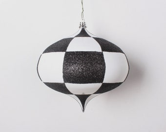 """6"""" Checker Black and White Kismet Ornament, Shatterproof Christmas Ornament, Halloween Ornament, Wreath Attachment or Supplies"""