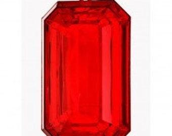 "9"" Acrylic Emerald Cut Precious Gem Ornament, Red Ornament, Shatterproof Christmas Ornament, Wreath Attachment or Supplies"