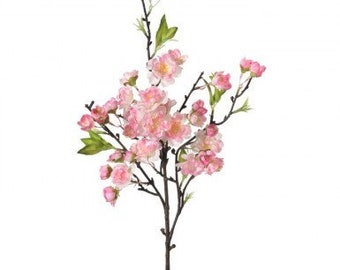 """Pink  or White Cherry Blossom Pick 18"""", Floral Stems for Wreath Supplies, Floral and Garden Wreath Embellishments, Pink Wedding Supplies"""