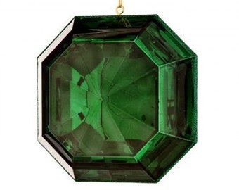 "6""  Square Acrylic Emerald Cut Precious Gem Ornament, Emerald Green Ornament, Shatterproof Christmas Ornament, Wreath Attachment or Supplies"