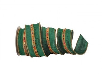 """Emerald Green Jewel Multi Colored Center Trim Dupion Wired Ribbon, 4"""" X 5 Yards Premium Ribbon for Wreath, Craft Floral or Bow Designs"""