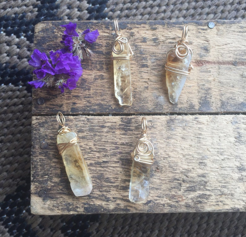 Raw Citrine Necklace Natural Crystal Wire Wrapped Pendant