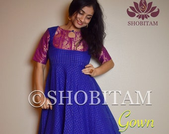 Sungdi Gown size 34 and 36 - bright blue and pink Indian cotton gown with contrast border and zari work | Indian dress | Beautiful gown