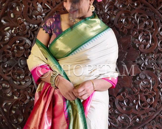 Light Cream Saree with Ganga Jamuna borders | Sarees for Women | Art Silk Saree | Shobitam Saree | Ganga Jamuna Saree | Temple border saree
