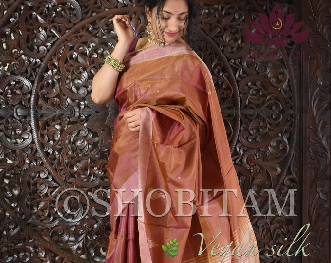 Vegan Silk Saree in Dual tone honey pink ! Pretty Sari! shobitam saree