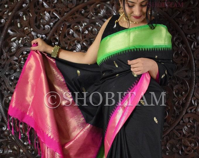 Black Saree with Ganga Jamuna borders | Shobitam Black Saree | Art Silk Saree | Shobitam Saree