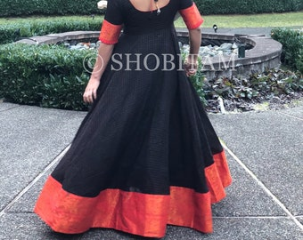 Exclusive  Sungudi Gown - Double flair Black-Vermilion Indian cotton gown with contrast border & zari work | Indian dress | Shobitam gown