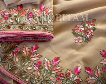 Kashmiri Saree in Beige with floral embroidery | Embroidery saree | Georgette Saree | Shobitam Saree