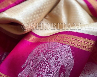 Elegant Pure Silk Kanjeevaram ivory/cream with Magenta  borders | dense motif saree | elephant zari |SILK MARK CERTIFIED | Shobitam Saree