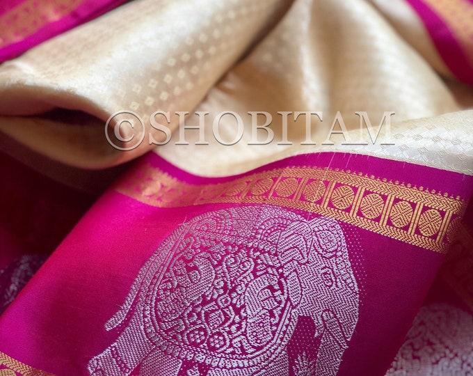 Elegant Pure Silk Kanjeevaram ivory/cream with Magenta  borders   dense motif saree   elephant zari  SILK MARK CERTIFIED   Shobitam Saree
