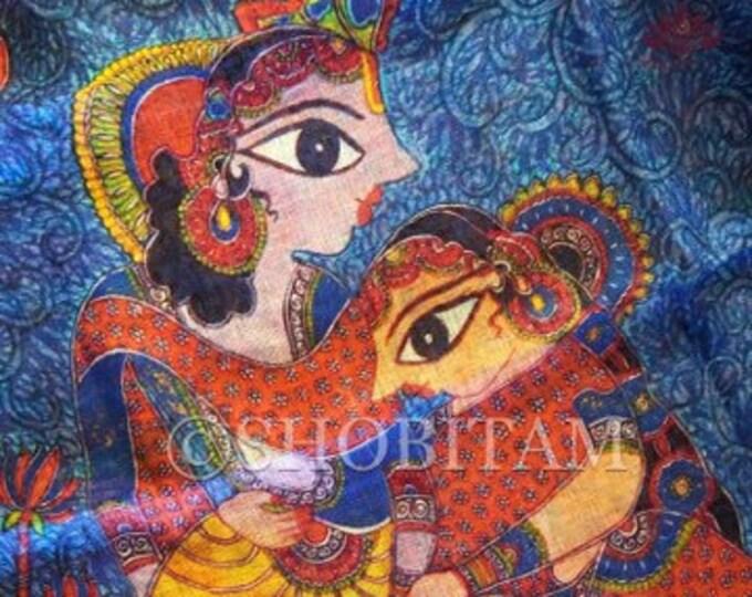 Orange Madhubani style design  Digital Print Saree on Linen by Linen   Krishna Radha   Shobitam Saree