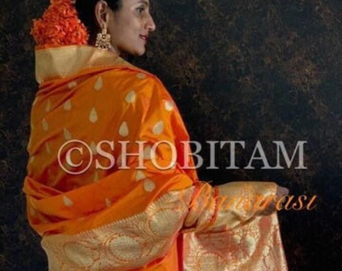 Statement saree in Pure Silk: Banarasi Saree in bright orange with bright gold border| Benarasi Saree | SilkMark Certified  | Shobitam Saree
