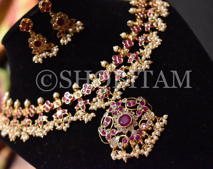 Prakriya Necklace Set  -  Studded necklace and Earrings set with faux stones in bright gold  finish  | Shobitam Jewelry