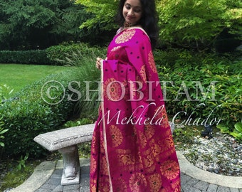 Padmini Cotton Pink Mekhela Chador  | Assamese style saree | grand ethnic outfit | Stylish dress | Designer handloom saree!