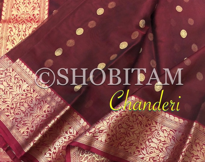 Chanderi Silk Saree in Katan Silk | STUNNING SAREE in brown