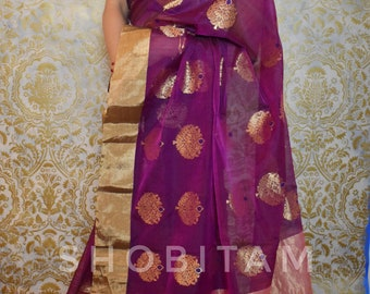 Purple Chanderi  Saree | Original Pure Chanderi Silk Cotton I Handmade Saree I Shobitam Saree