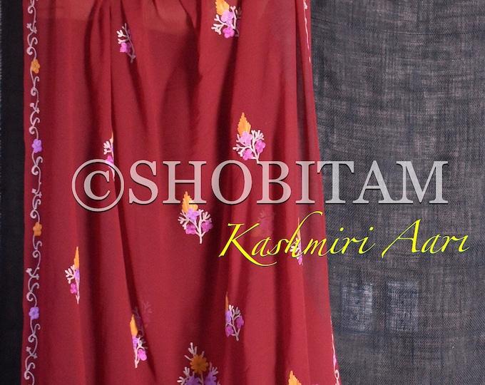 Gheru / Terra-cotta Red Color Kashmiri Saree with aari work. Exquisite georgette saree | Shobitam Saree