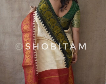 Madurai Sungudi Saree with Ganga Jamuna Border |  Cotton Saree with temple border | Checks saree | Nice Sari!