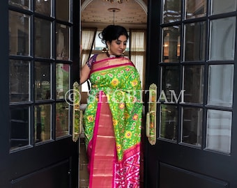 Pure Silk Saree - Pochampally Ikkat  Silk Saree | SILK MARK CERTIFIED | Ikkat Saree | Shobitam Saree