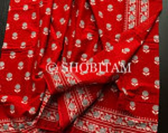 Mulmul Saree - Hand Block Printed Mulmal sarees I Red Block Print Saree I Mulmal Cotton Saree | Shobitam Saree