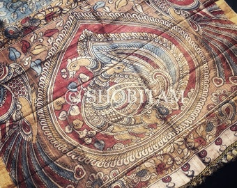 Authentic Pen Kalamkari on Pure Tussar Silk with Natural Dyes | Kalamkari Saree | Shobitam Saree