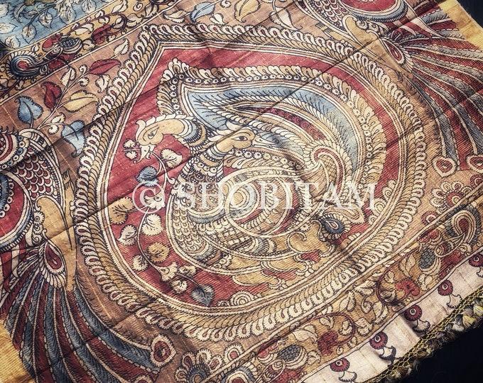 Authentic Pen Kalamkari on Pure Tussar Silk with Natural Dyes | Kalamkari Saree | Shobitam Saree