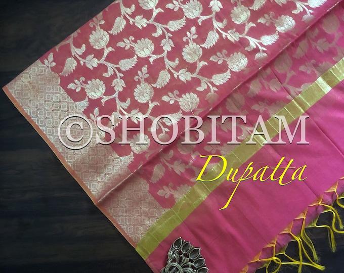 Bright Pink Banarasi Dupatta | Pretty Dupatta on Chanderi Cotton.| Lightweight Dupatta