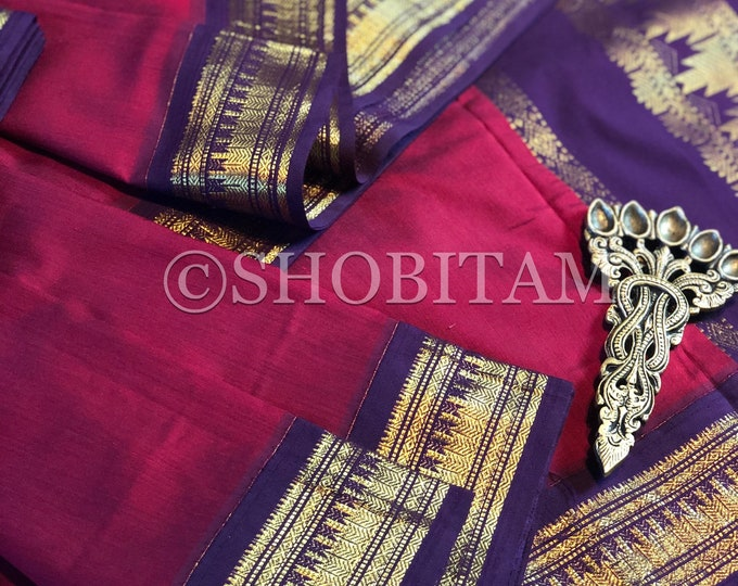 Deep pinkish red with purple Venkatagiri Cotton Silk Saree  | Pretty Saree | Shobitam Saree