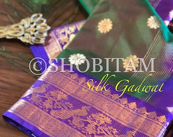 Gadwal Grandeur- Pure Gadwal Soft Silk Saree with peacock border | Wedding Saree | Grand Saree | Shobitam Saree