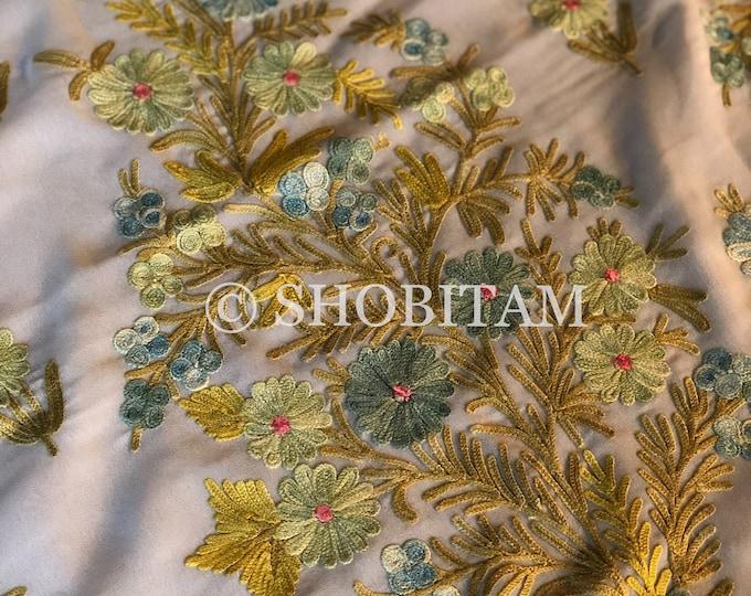 Kashmiri Saree with  aari work in soft white | Embroidery saree | Georgette Saree | Shobitam Saree