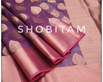 Purple Banarasi Organza Saree. Gorgeous Sari. Bollywood sarees!