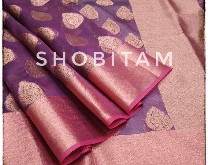 Purple Banarasi Organza Saree. Gorgeous Sari. Bollywood sarees!