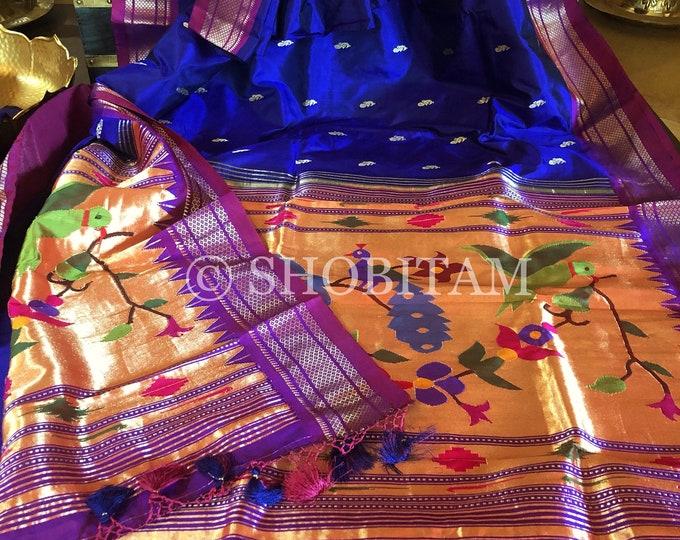 Exquisite  Paithani handloom Pure Silk Saree   SILK MARK CERTIFIED    Shobitam  Saree
