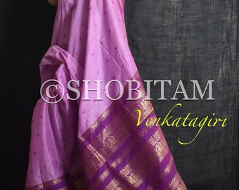 Gorgeous dual tone lilac pink Venkatagiri Cotton Silk Saree with buttas  | Pretty Saree